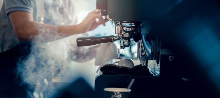 barista working makeing coffee with c