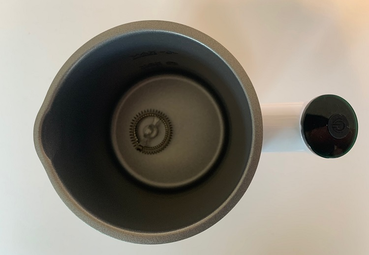 nobebird milk frother showing frothing whisk